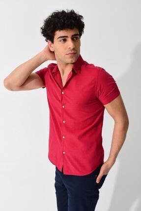 TENA MODA Erkek Bordo Kısa Kollu Apaş Yaka Regular Keten Gömlek
