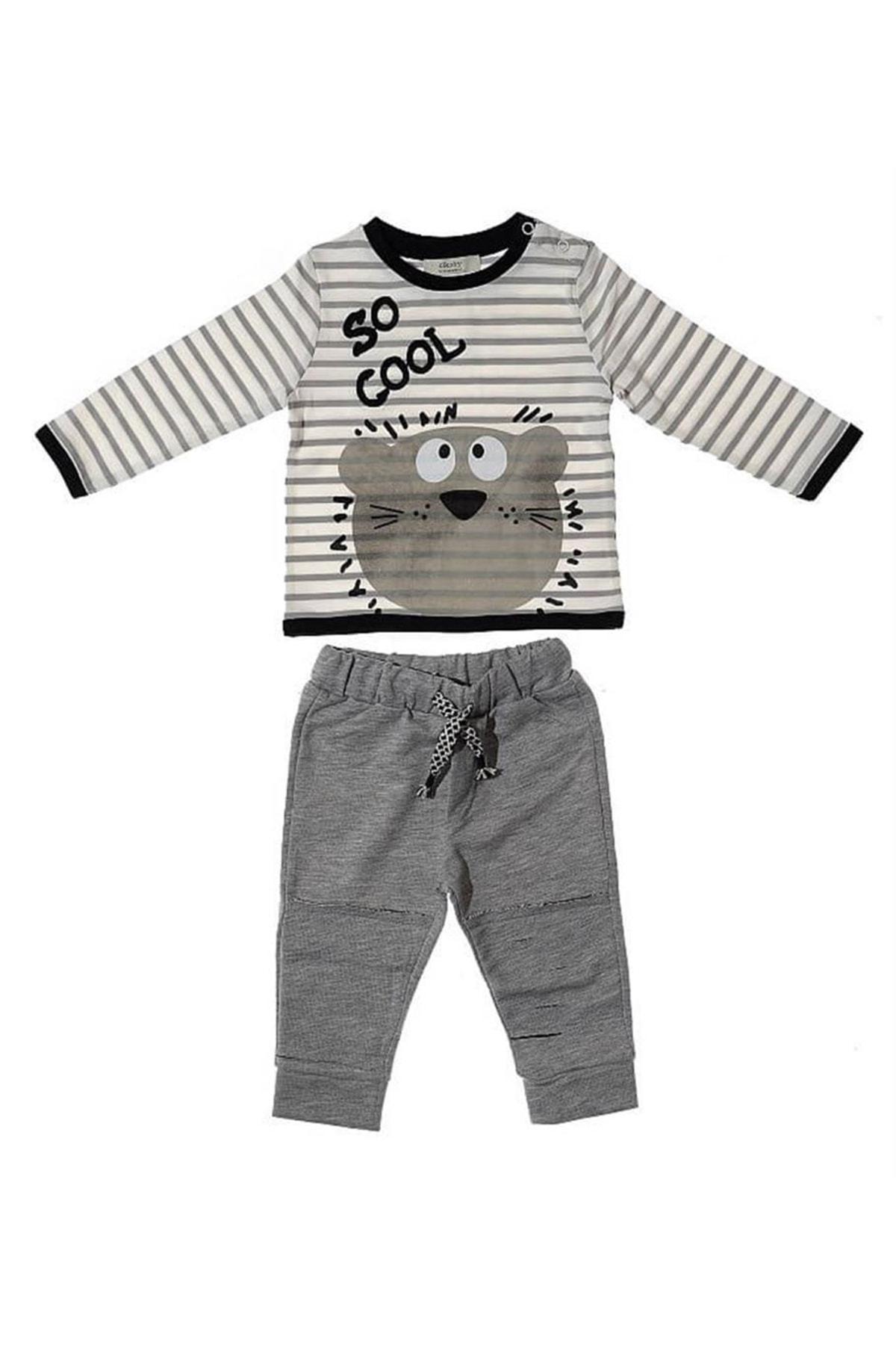Soft One Çikoby Ayıcık Desenli Erkek Bebek Alt Üst Takım Ce1075 1