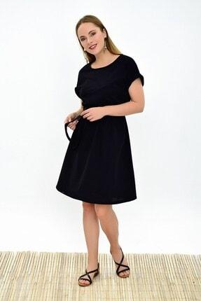 Cotton Mood 9292931 Ikiiplik Beli Lastikli Yarasa Kol Elbise Sıyah