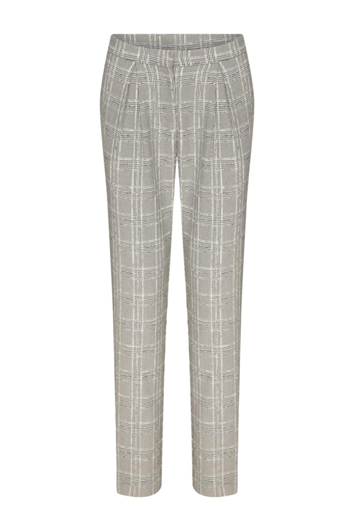 W Collection Pileli Ekose Pantolon 1