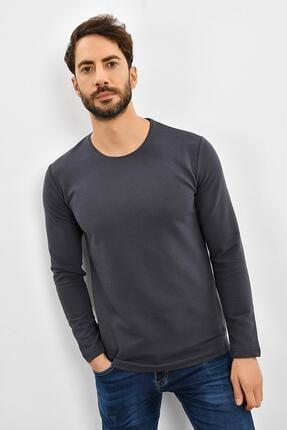 TENA MODA Erkek Antrasit Sıfır Yaka Enine Kendinden Çizgili Sweatshirt