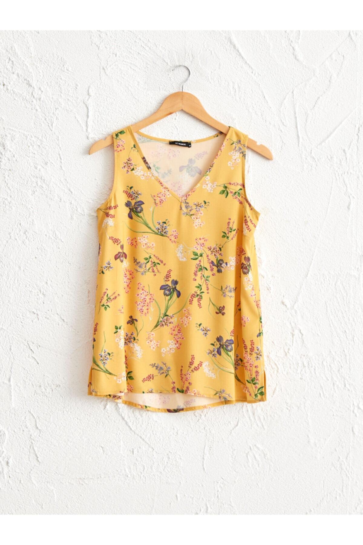 LC Waikiki Kadın Sarı Baskili  Bluz 1