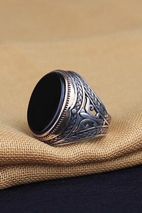 KsrModa Oniks Taşlı 925 Ayar Gümüş Yüzük