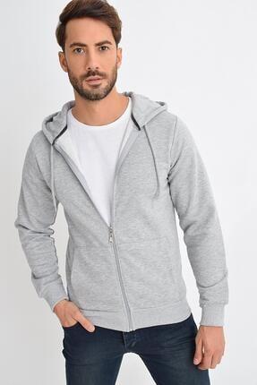 TENA MODA Erkek Gri Melanj Kapüşonlu Fermuarlı Basic Sweatshirt