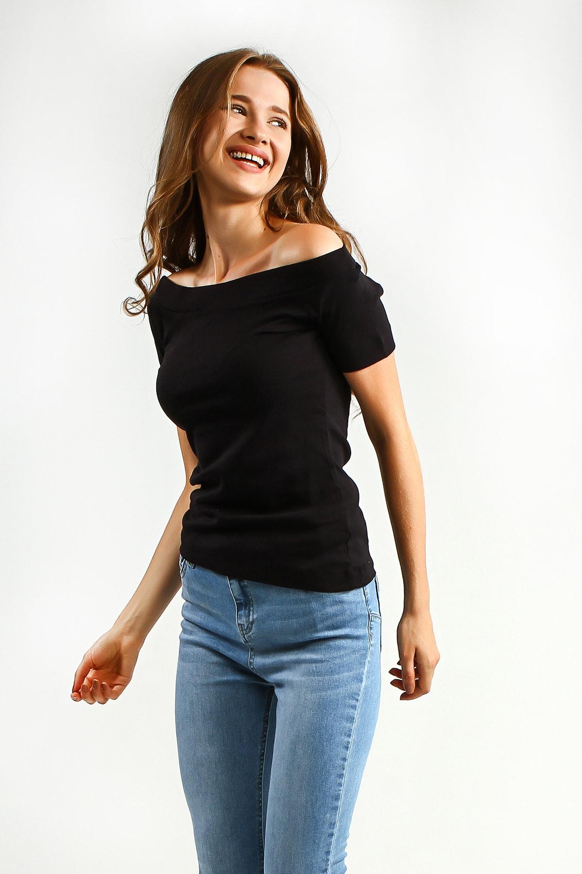 Collezione Sıyah Kayık Yaka Kısa Kollu Kadın Basic Tshirt 2