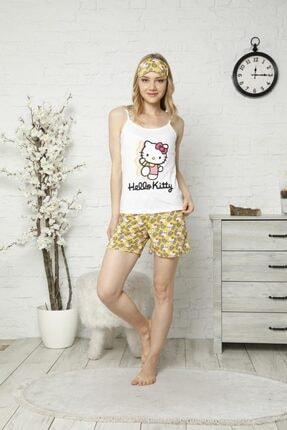 TENA MODA Kadın Ekru Ip Askılı Atletli Şortlu Hello Kitty Baskılı Pijama Takımı
