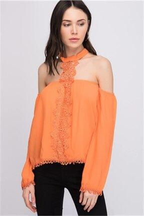 Cotton Mood 8161171 Şile Bezi Güpürlü Boğazı Bantlı Düşük Omuz Bluz Oranj