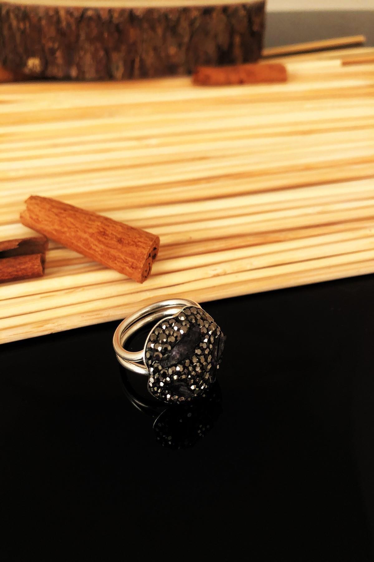 Dr. Stone Dr Stone Doğaltaş El Yapımı Ametist Taşı Gümüş Kaplama Anatolia Ayarlanabilir Halkalı Yüzük Ktdr70 1