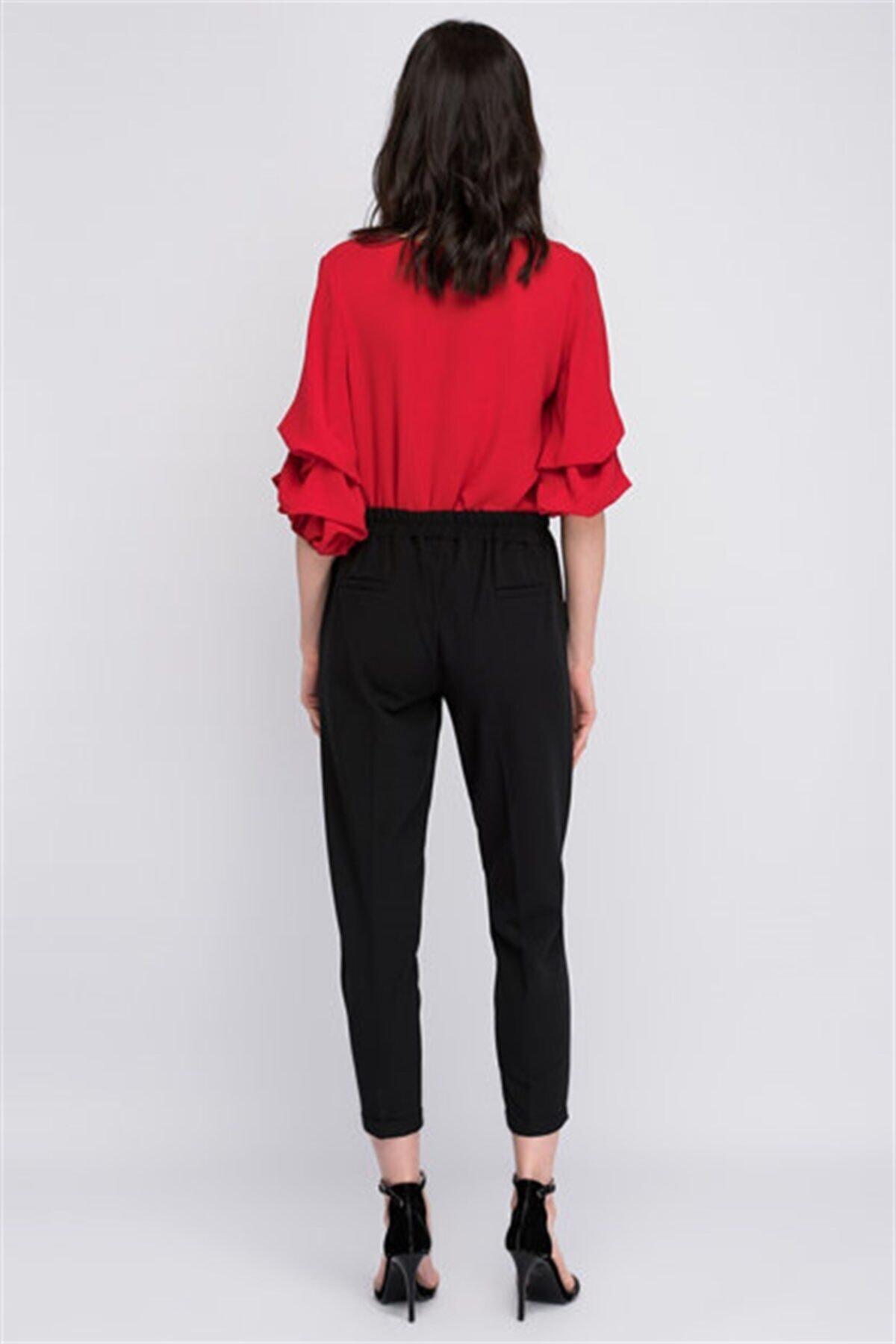 Cotton Mood 8122590 Azra Cepli Beli Lastikli Havuç Pantolon Sıyah 2