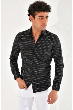 Efor Gk 586 Slim Fit Siyah Klasik Gömlek