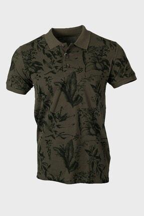 Jakamen Haki Desenli Slim Fit Polo Yaka T-shirt