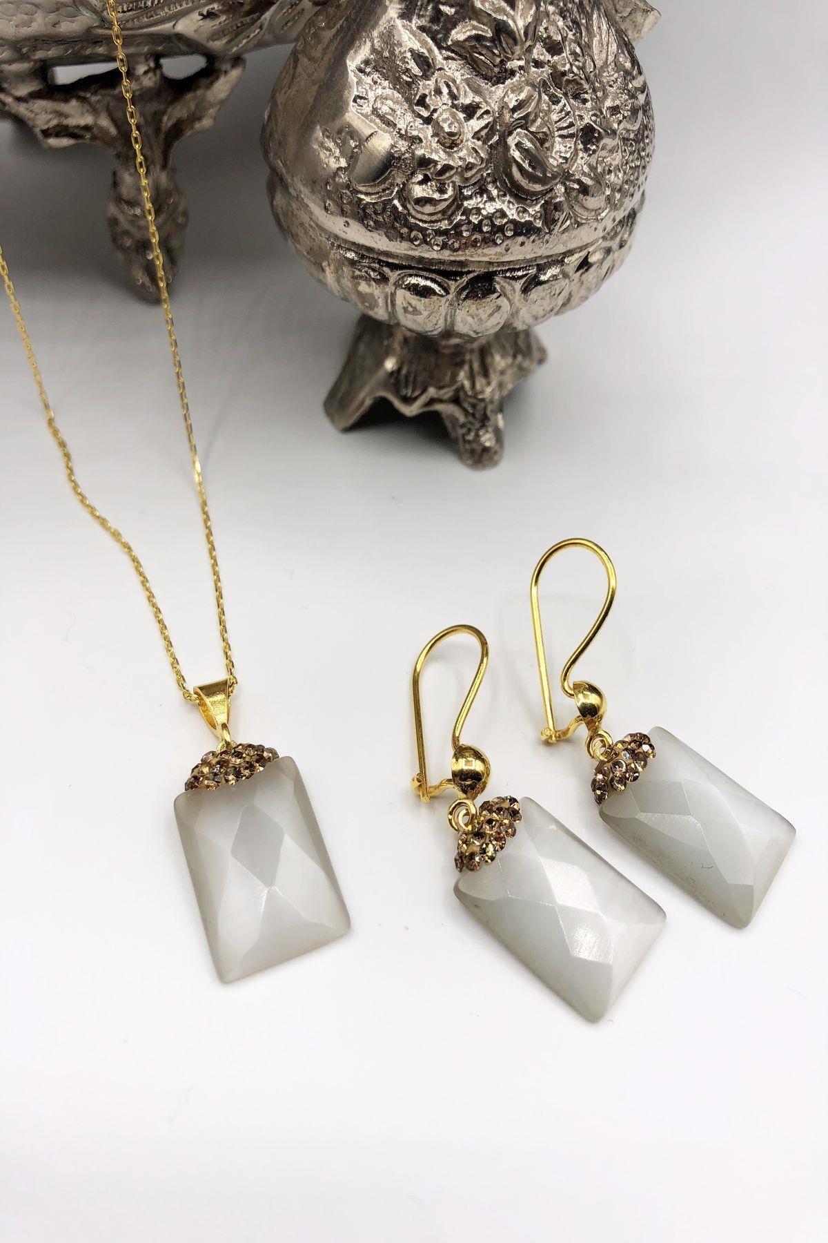 Dr. Stone Dr Stone Harem Koleksiyonu Kedigözü Taşı El Yapımı 925 Ayar Gümüş Set Gdr9 1