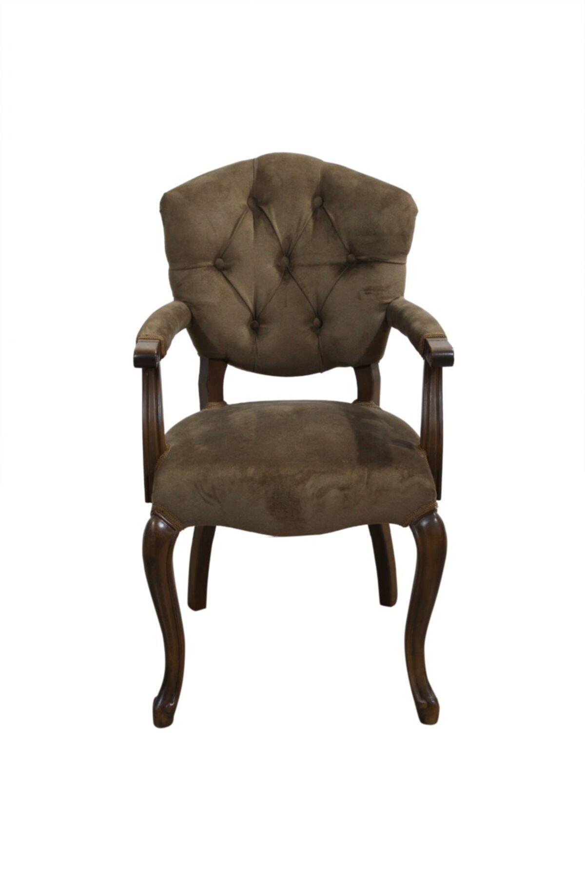 BENGİ TİCARET Bengi Lüx Kolçaklı Ahşap Berjer Sandalye Kahve 1