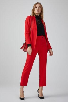 Gusto Beli Kemerli Yüksek Bel Krep Dokulu Pantolon - Kırmızı