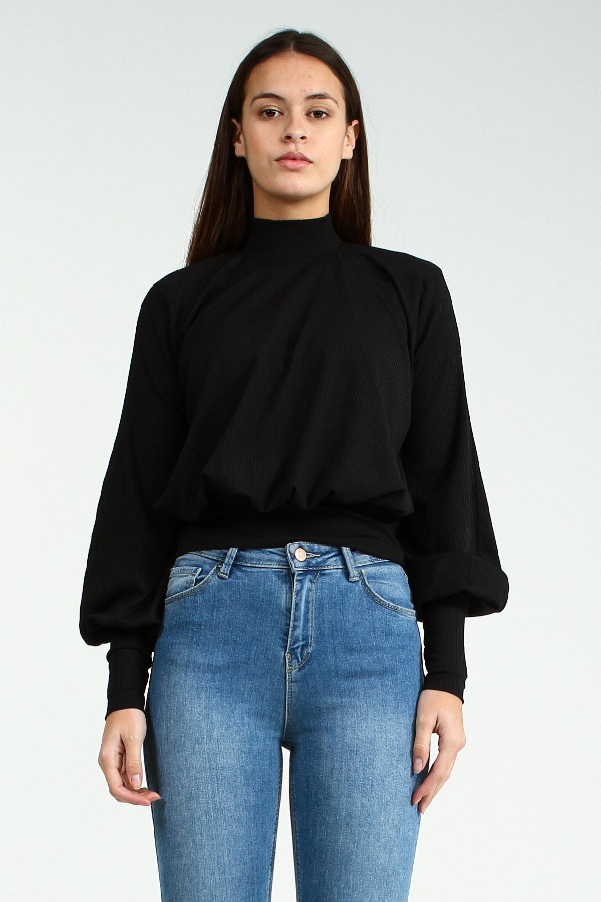 Collezione Siyah Boğazlı Balon Kollu Bel Ve Kol Lastik Detaylı Kadın Bluz 1