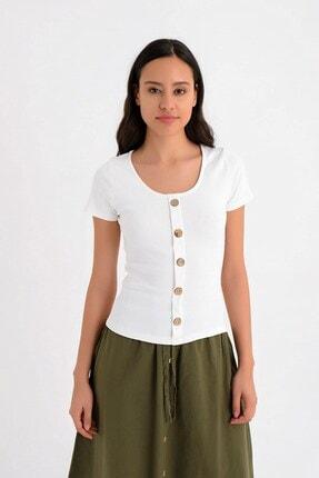 Cotton Mood 9151533 Kaşkorse Önü Düğmeli Kısa Kol Bluz Ekru