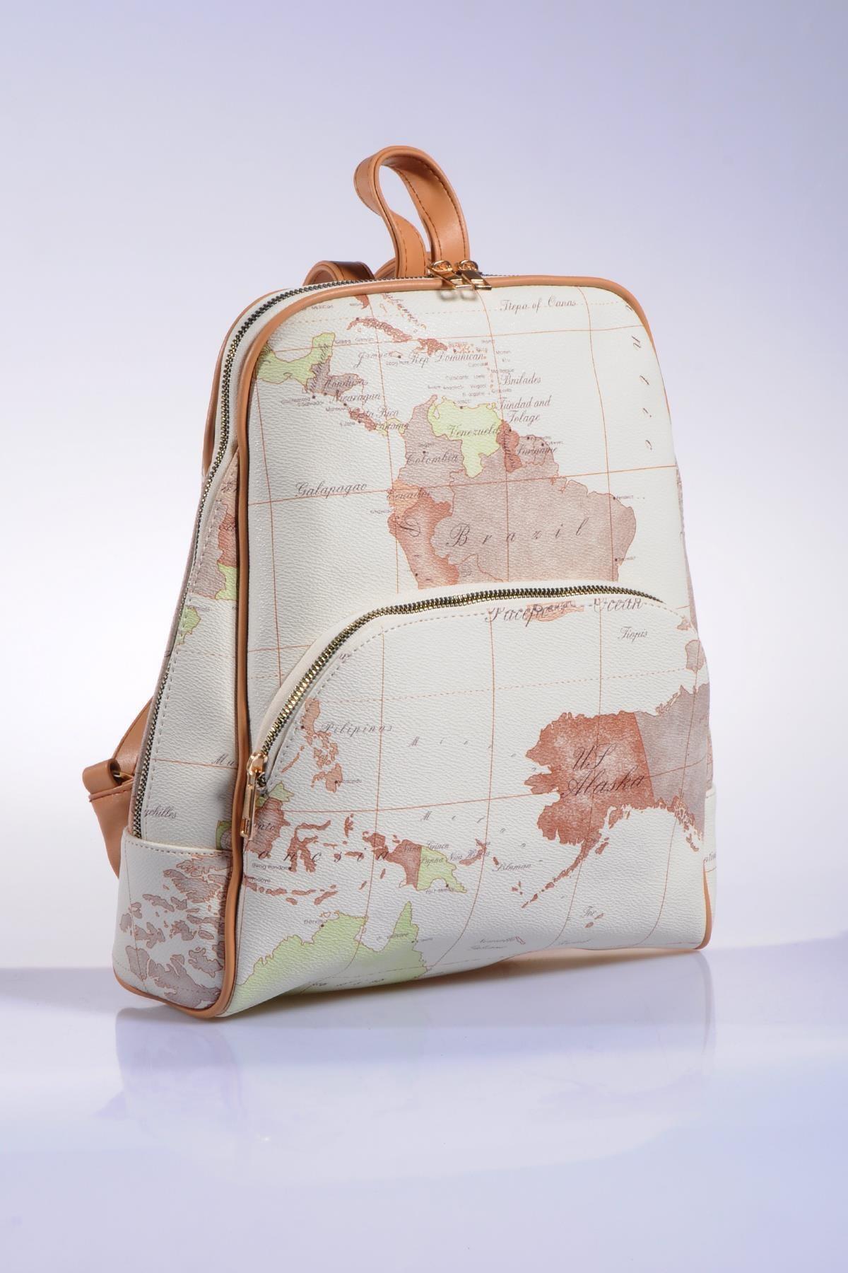 Sergio Giorgianni Luxury Sg1861 White Map Kadın Sırt Çantası 2