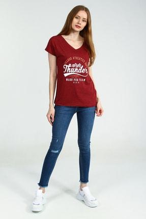 Collezione Bordo Önü Basklılı V Yakalı Kısa Kollu Kadın Tshirt
