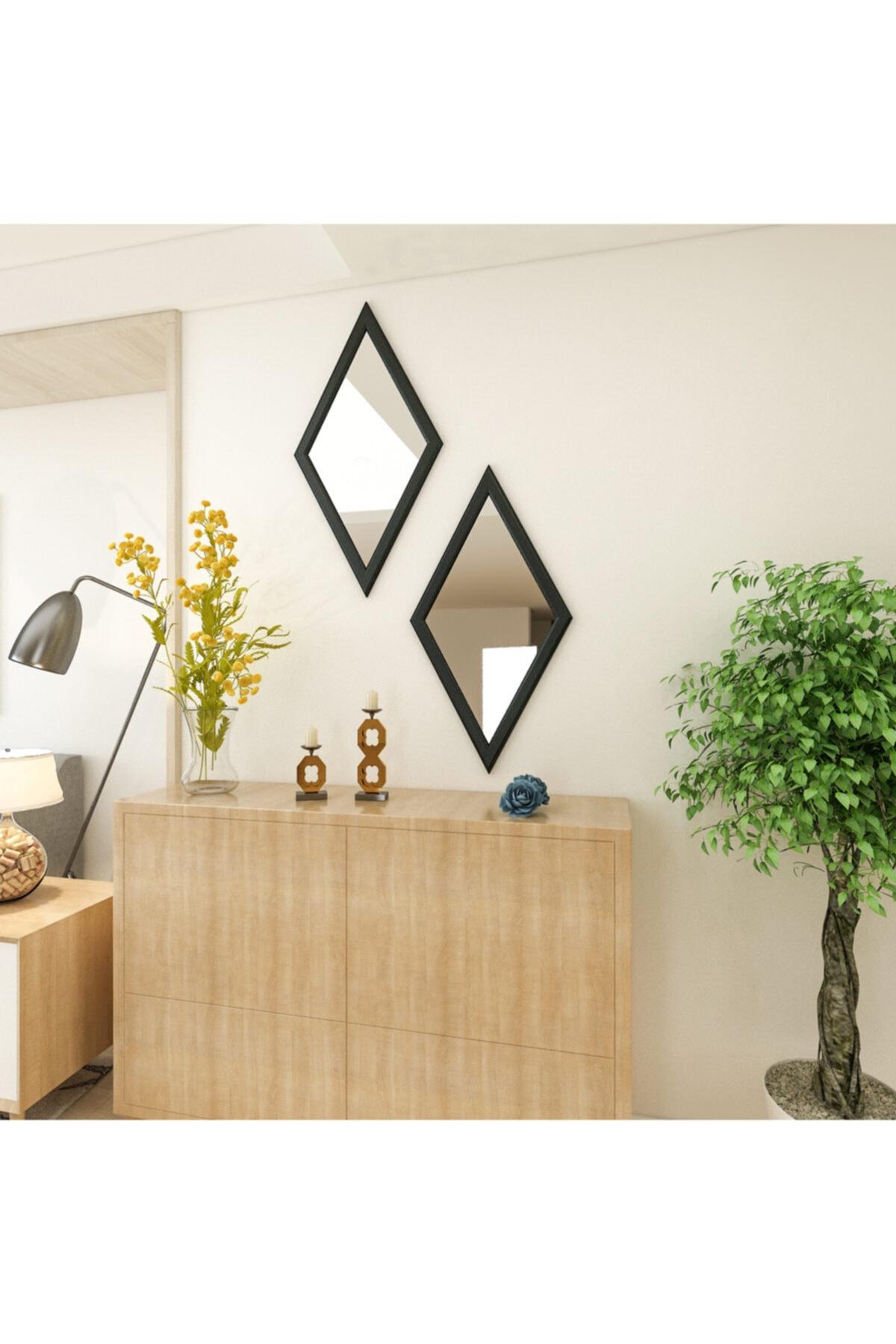 Camex Store Baklava Dilim Antrasit Çerçeveli Dekoratif Ayna 1