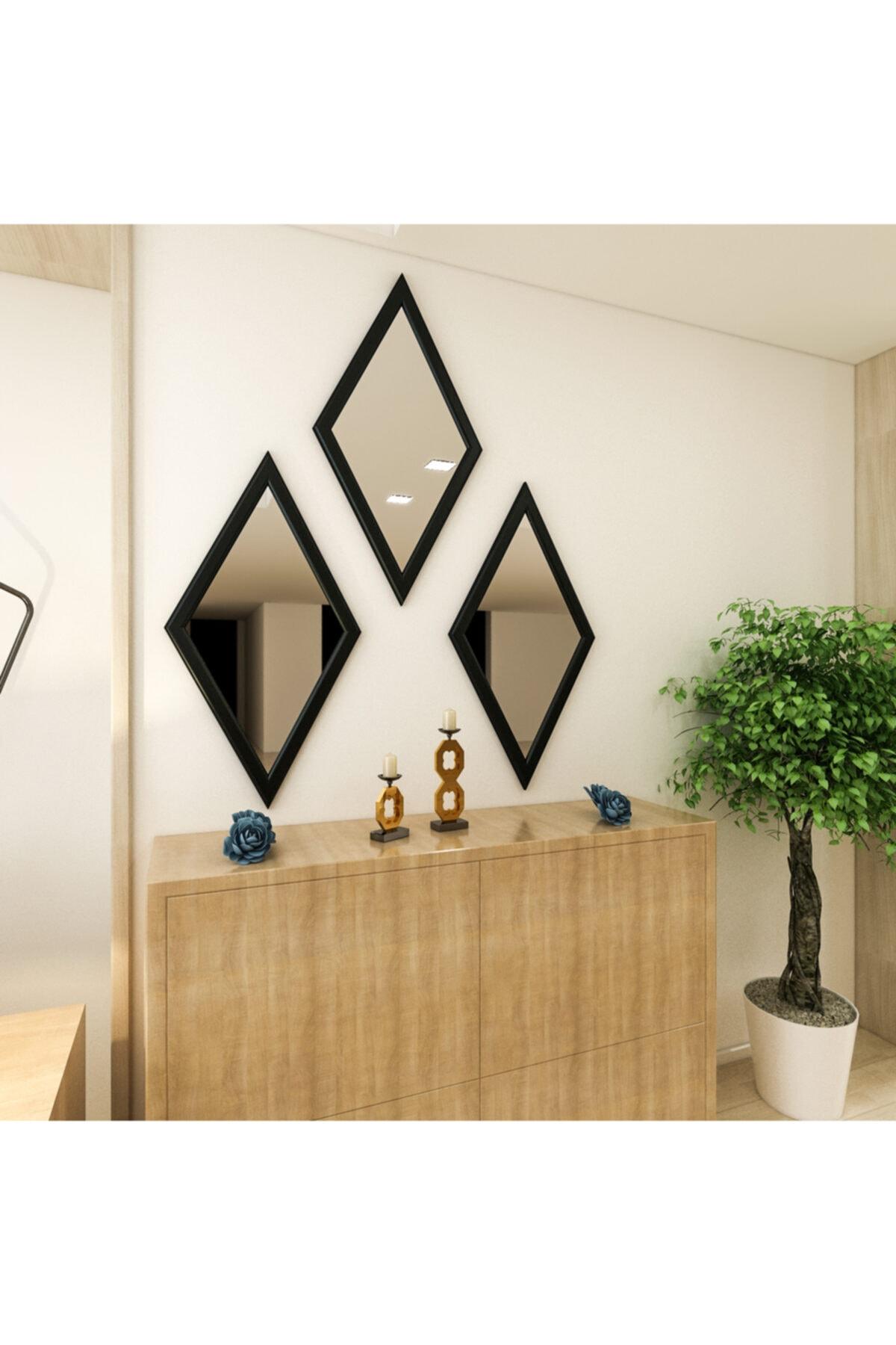 Camex Store Baklava Dilim Antrasit Çerçeveli Dekoratif Ayna 2