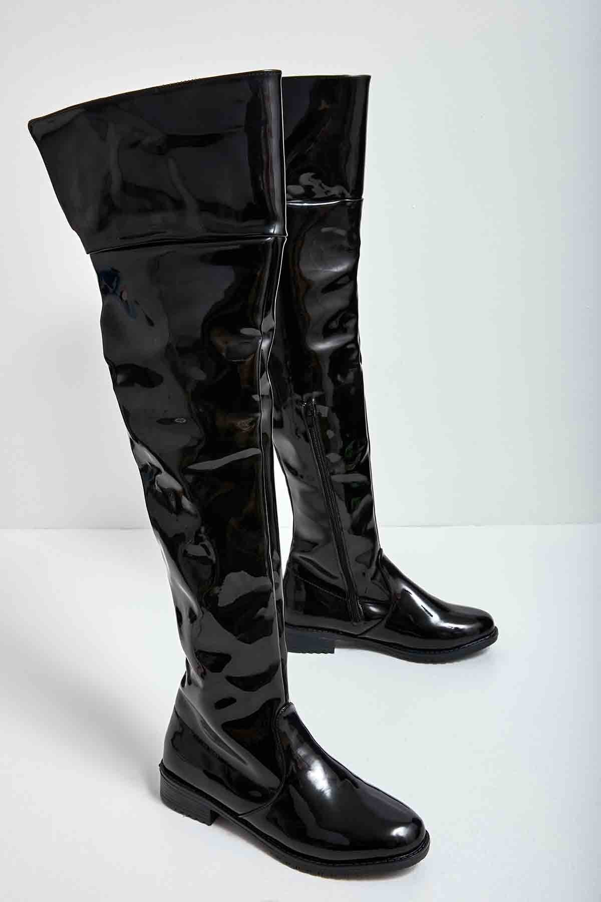 Bambi Siyah Rugan Kadın Çizme M0503306098 2