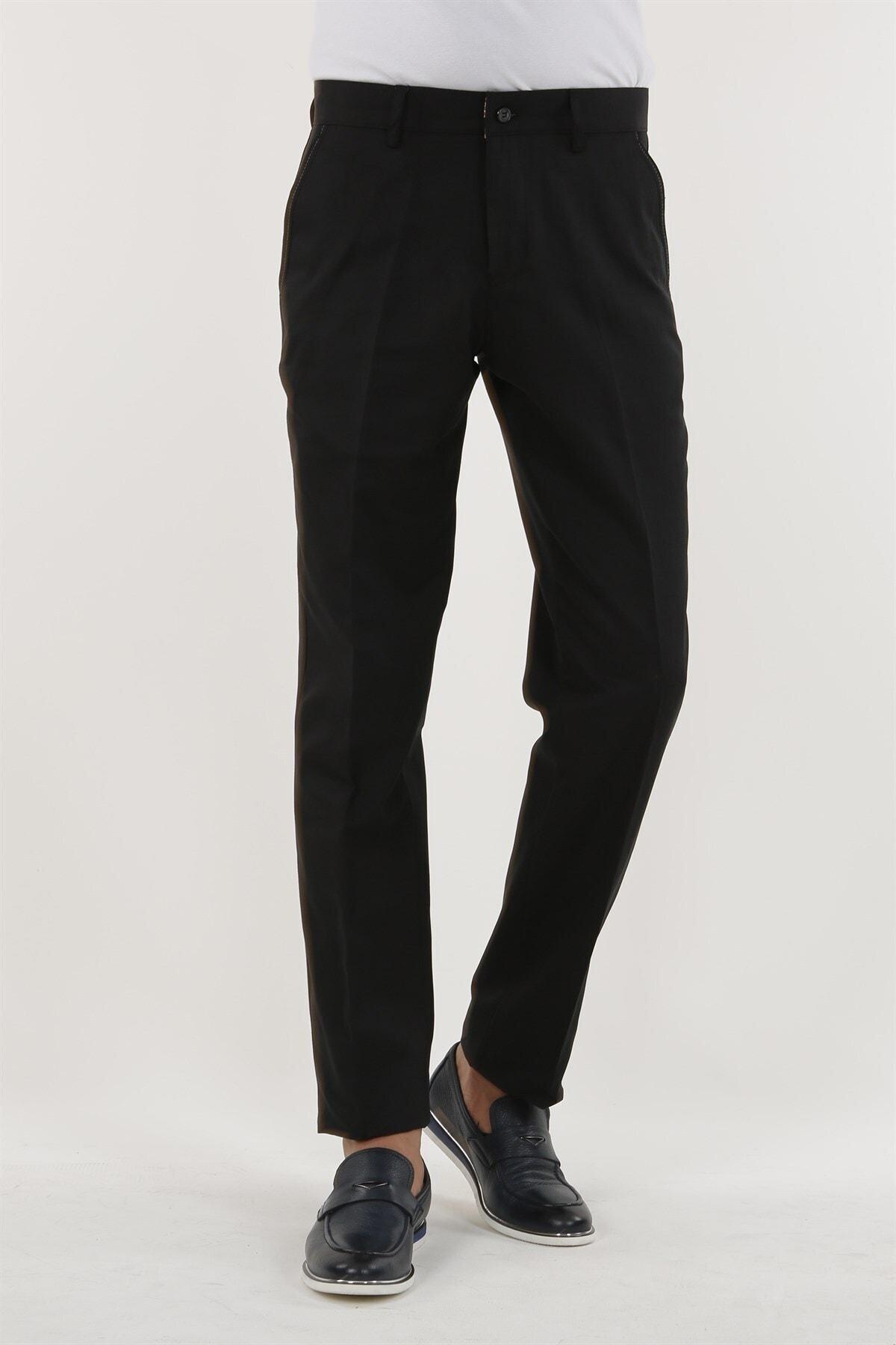Jakamen Siyah Renk Klasik Kalıp Erkek Pantolon 1