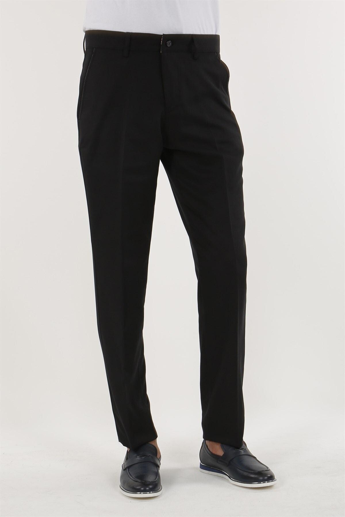 Jakamen Siyah Renk Klasik Kalıp Erkek Pantolon 2