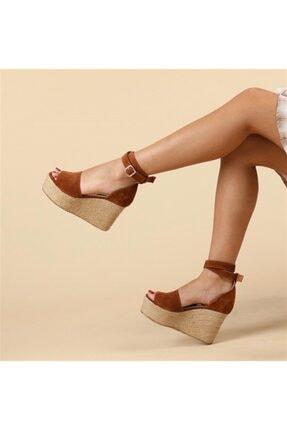 Oblavion Galia Hakiki Deri Taba Dolgu Topuklu Ayakkabı