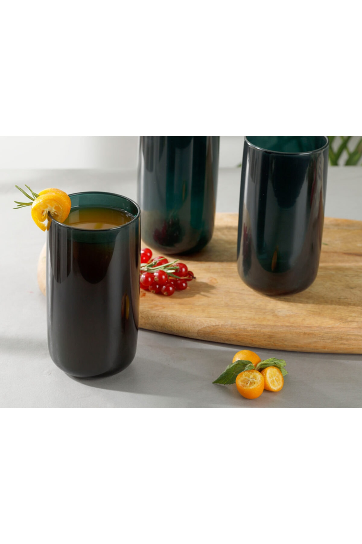 English Home Pia Cam 3'lü Meşrubat Bardağı 365 Ml Koyu Yeşil 2