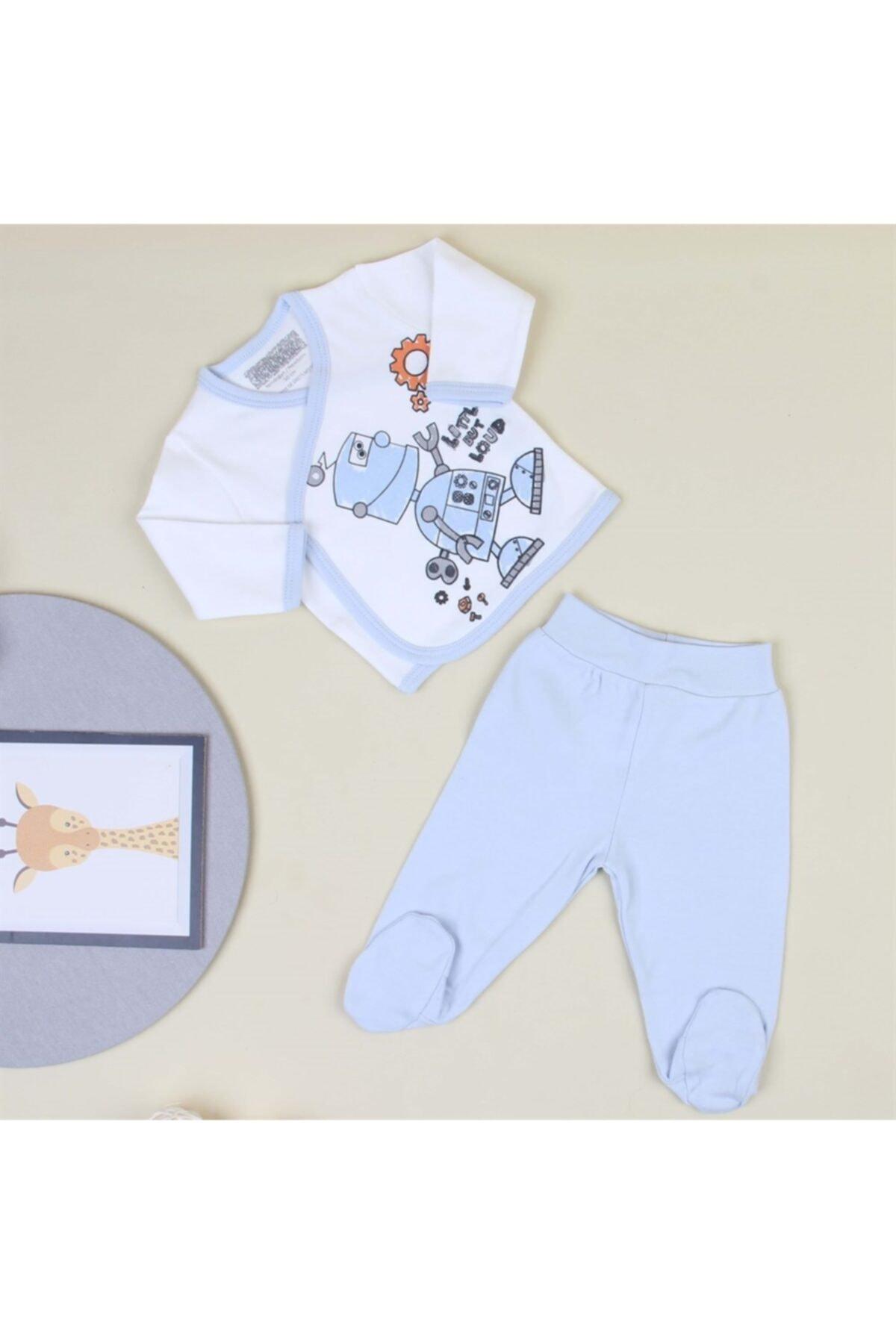 Mini Ropa Erkek Bebek Robot Baskılı Zıbın Takım 1