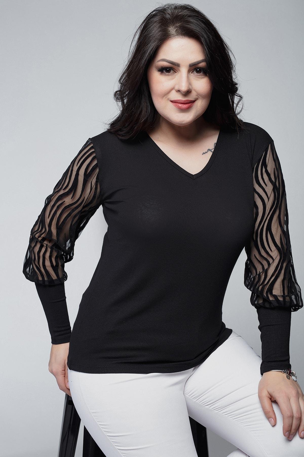 Ebsumu Kadın Büyük Beden Kolları Transparan Süet Dal Detay Siyah Bluz 1