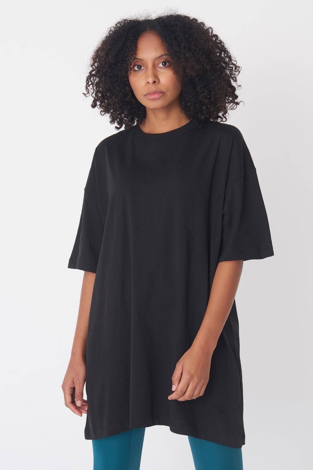 Addax Kadın Siyah Oversize Tişört P0731 - G6 - K7 ADX-0000020596 1