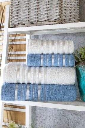 Zeynep Tekstil Emboss 4'lü Banyo Havlu Seti | %100 Pamuk