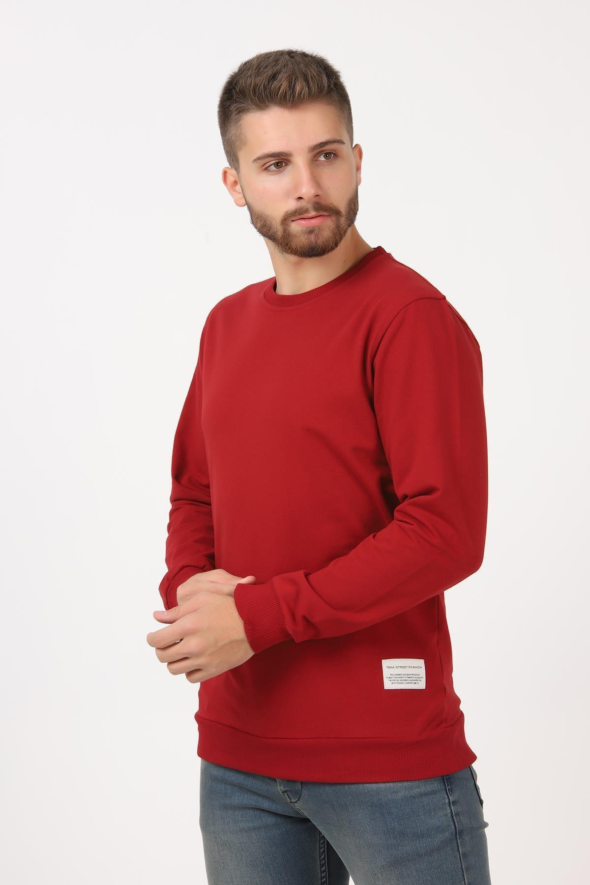 TENA MODA Erkek 9-açık Bordo Basic Sweatshirt 2