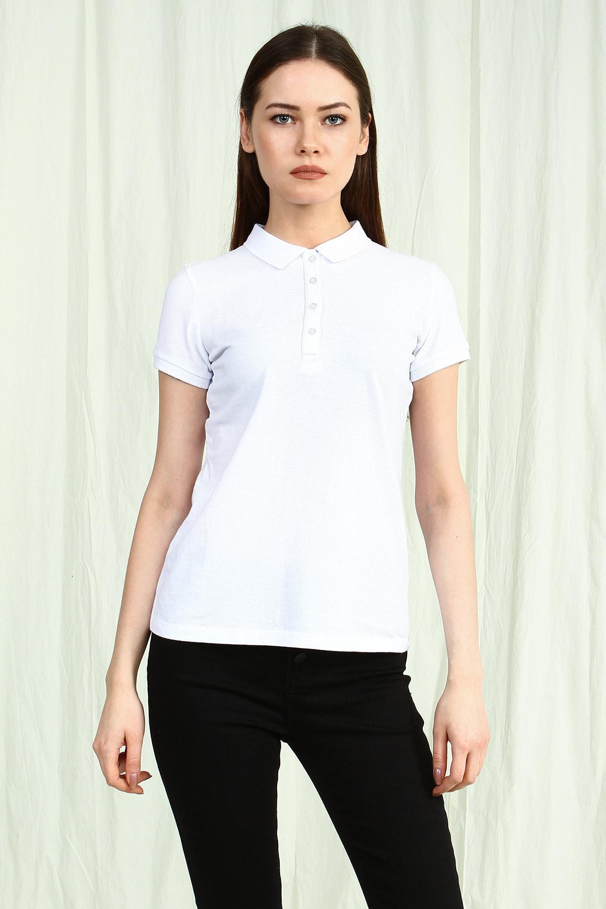 Collezione Beyaz Polo Yaka Kısa Kollu Basic Kadın Tshirt 1