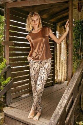 Anıl 9640 Kadın Halat Desenli Kısa Kollu Viskon Pijama Takım