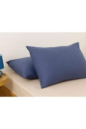 English Home Düz Pamuklu 2'li Yastık Kılıfı 50x70 Cm Gece Mavisi