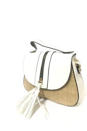 99 Nshop Ayarlanabilir Omuz Askılı Suni Deri Beyaz Hasır Kadın Çanta 2052312