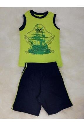 Wonder Kıds Erkek Çocuk Korsan Gemili Askılı Şortlu Pijama Takımı 130662