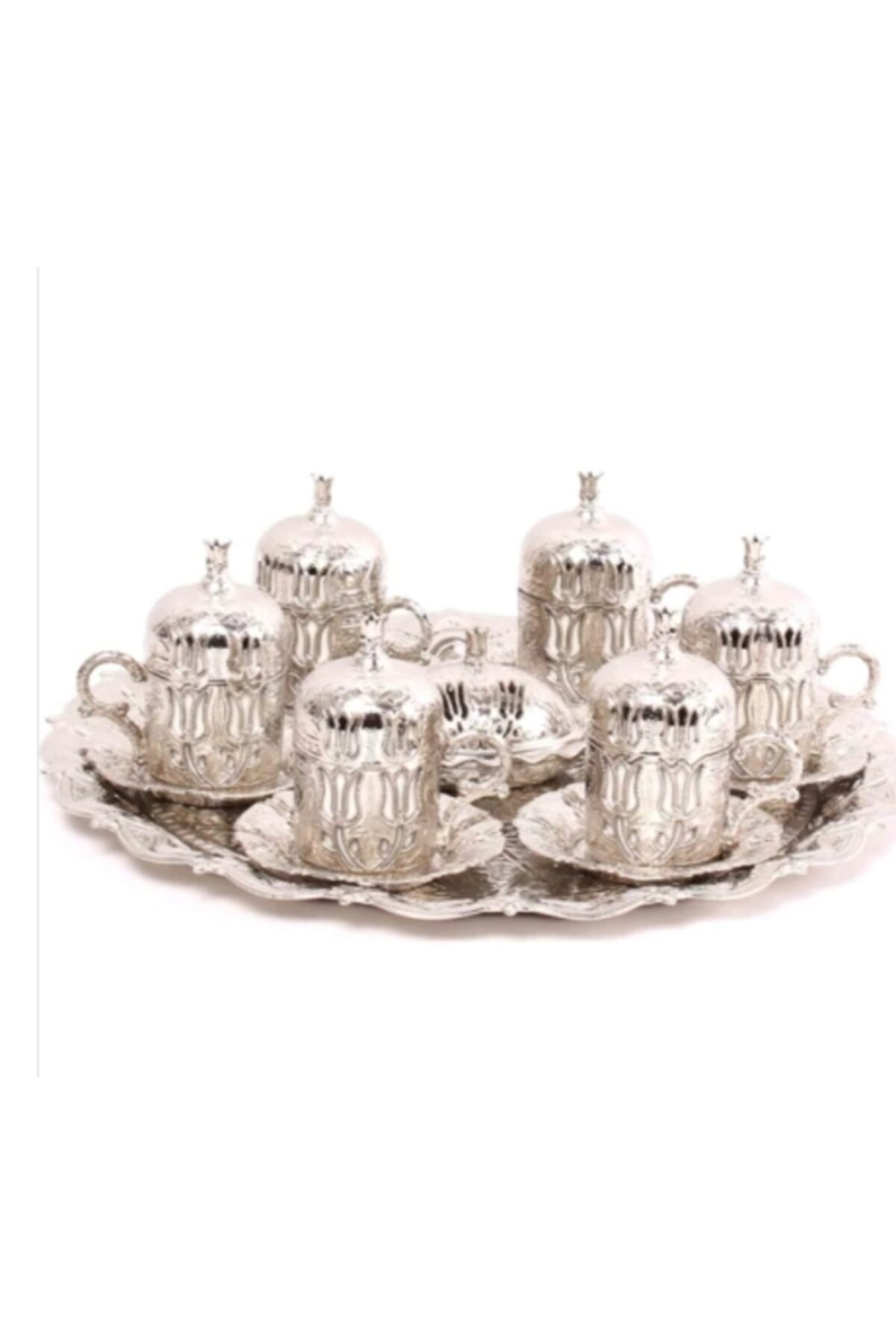 Paçi Osmanlı 6'lı Gümüş Metal Kahve Fincan Takımı Seti Metal 1
