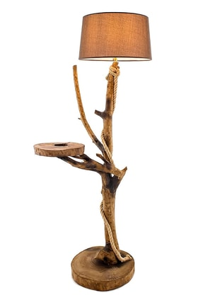 WOODBOOK Sehpalı Tekli Doğal Ağaç Lambader