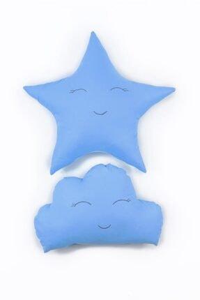Odeon Mavi Yıldız Ve Bulut Figürlü Çocuk Odası Dekoratif Yastık