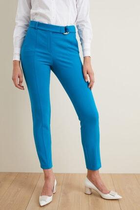 adL Kadın Mavi Kemerli Dar Paça Pantolon 15337457001