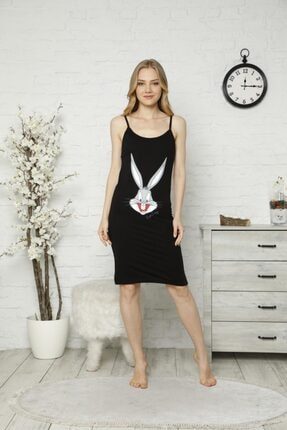 TENA MODA Kadın Siyah Ip Askılı Bugs Bunny Baskılı Gecelik Pijama