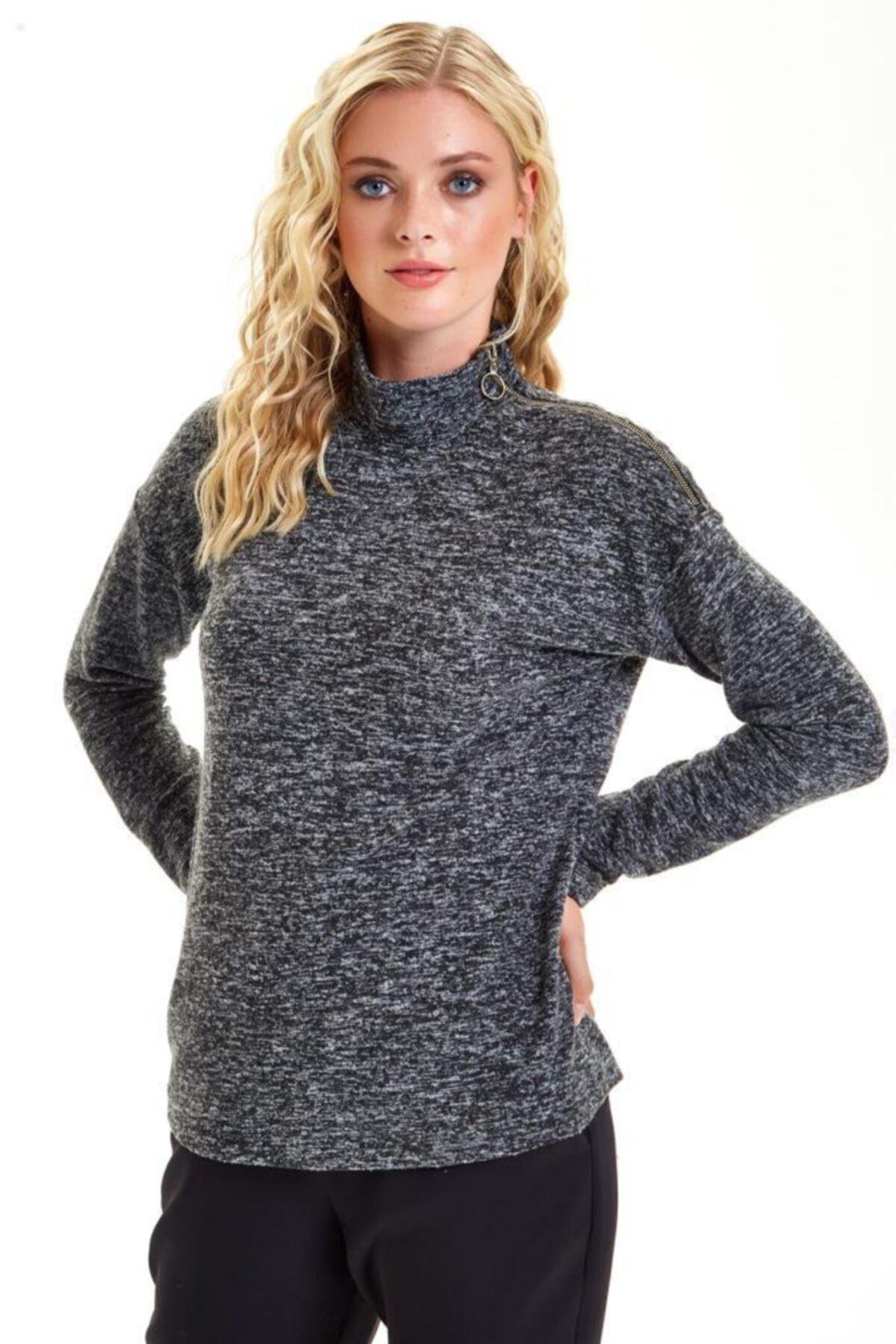 İKİLER Omuzu Metal Fermuarlı Uzun Kol Triko Bluz 201-1729 1