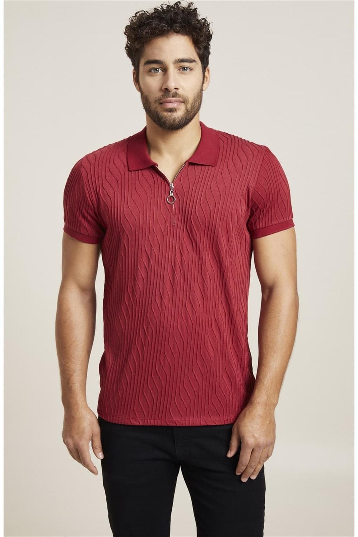 Efor Ts 767 Slim Fit Bordo Spor T-shirt 2