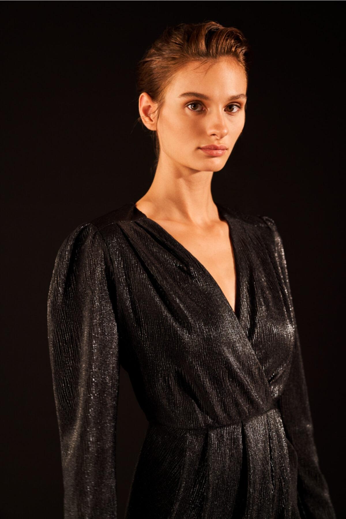Love My Body Drapeli Kruvaze Örme Elbise 2