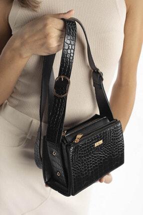 Madamra Aynı Butikte 2. Ürün 1 TL Siyah Kroko Kadın Çok Bölmeli Kutu Omuz Çantası