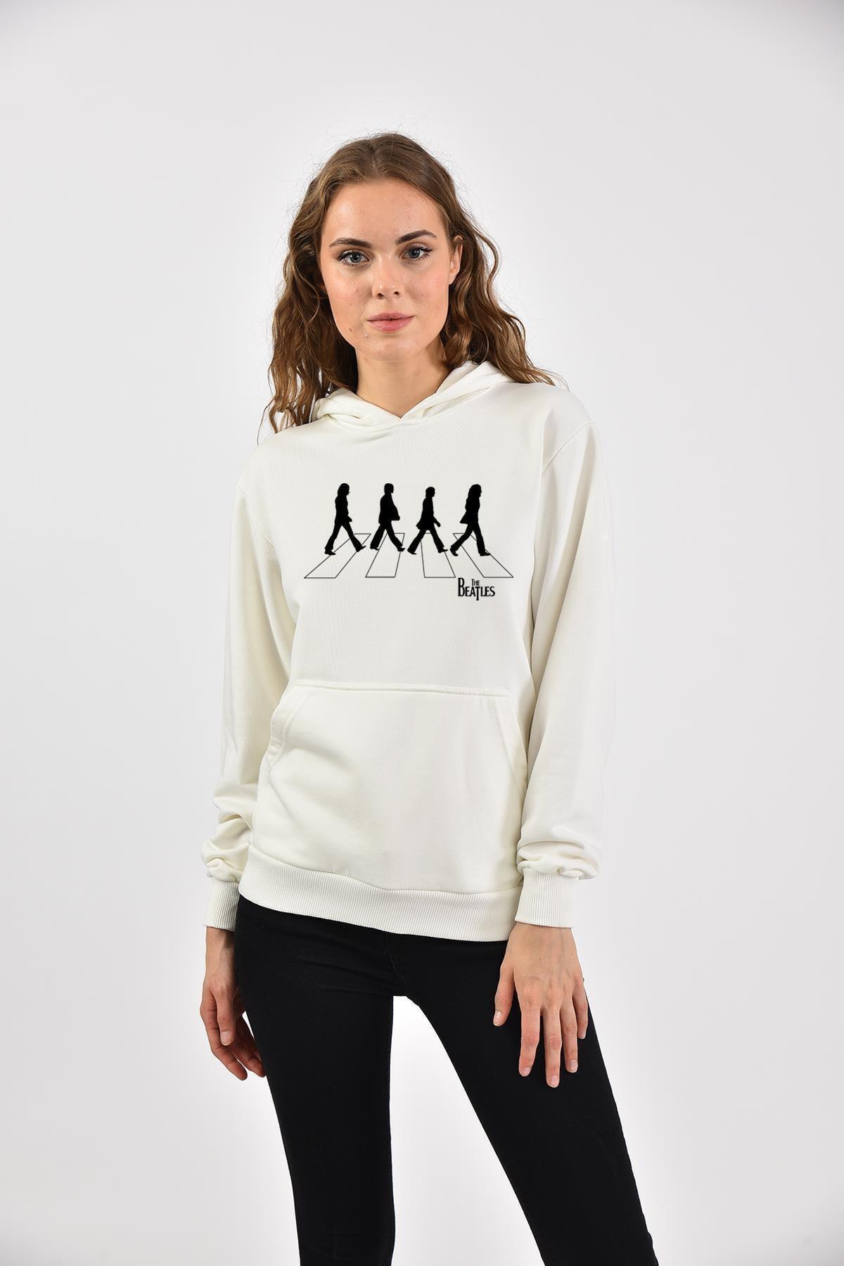 Love my shirts The Beatles Abbey Road Baskılı Kanguru Cepli Kadın Hoodie 1