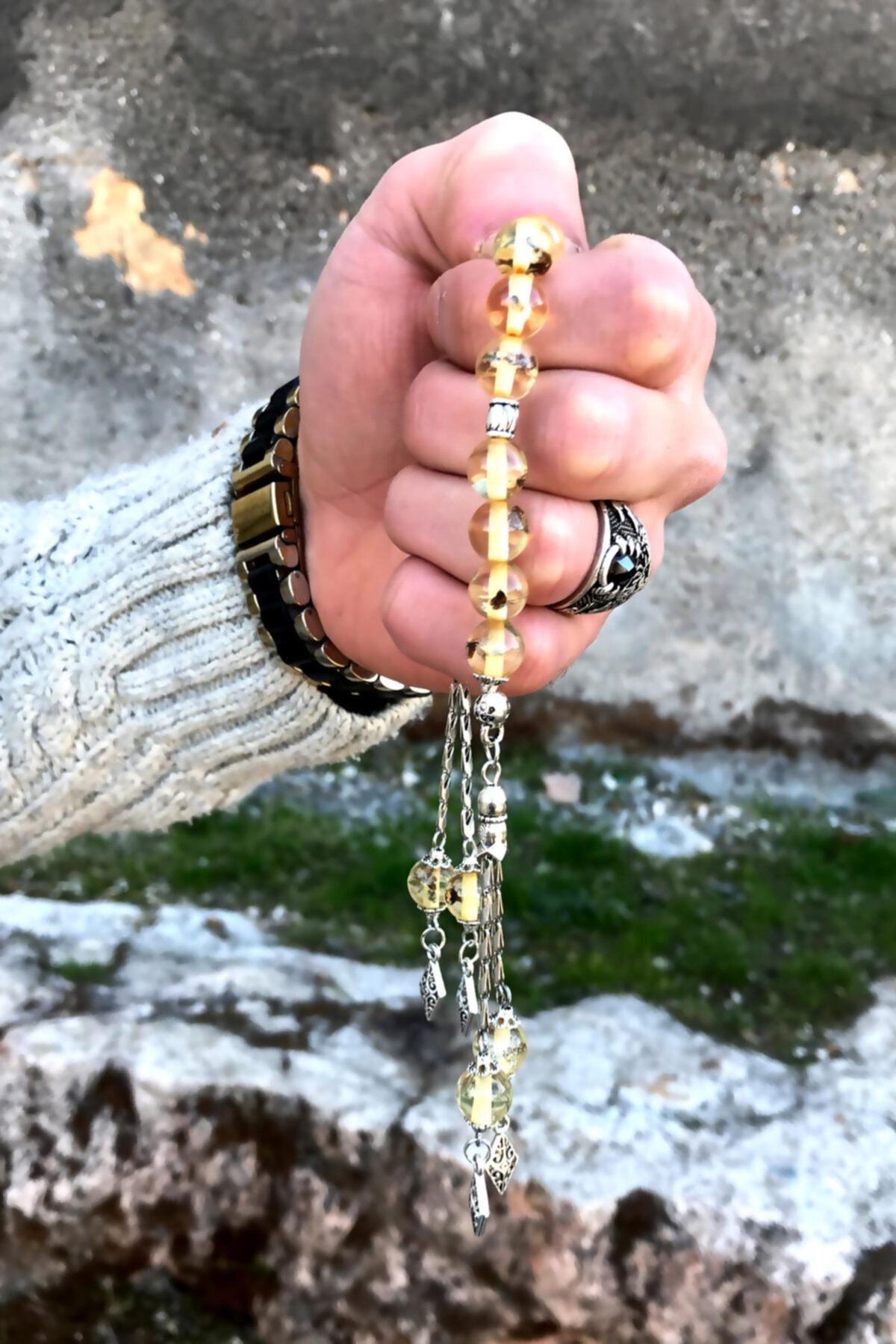 Midyat Nurtaş Gümüş Karınca Fosilli Zaza Toz Kehribar Tesbih 2